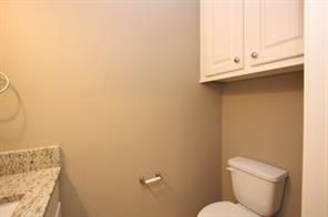 Powder bath downstairs also has granite counters and extra cabinet space.