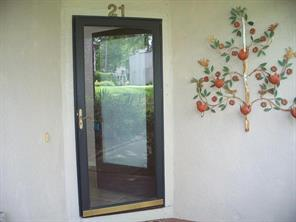 Glass storm door allows in natural light.