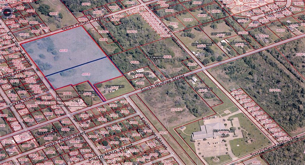 Property fronts on east Young and Colbert streets. Also has access to S Winfree street by private road which is part of Tract. The property is restricted to singe family homes( No Manufactured Homes). Highest and best use is subdivision development.