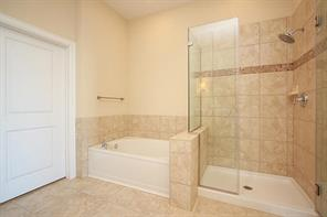 Another view of the master bath shows the soaking tub, walkin shower and luxurious finishes.