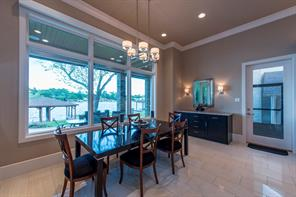 Breakfast area, built-in buffet and view to the lake.