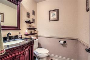 Half bath on main floor is convenient when entertaining.
