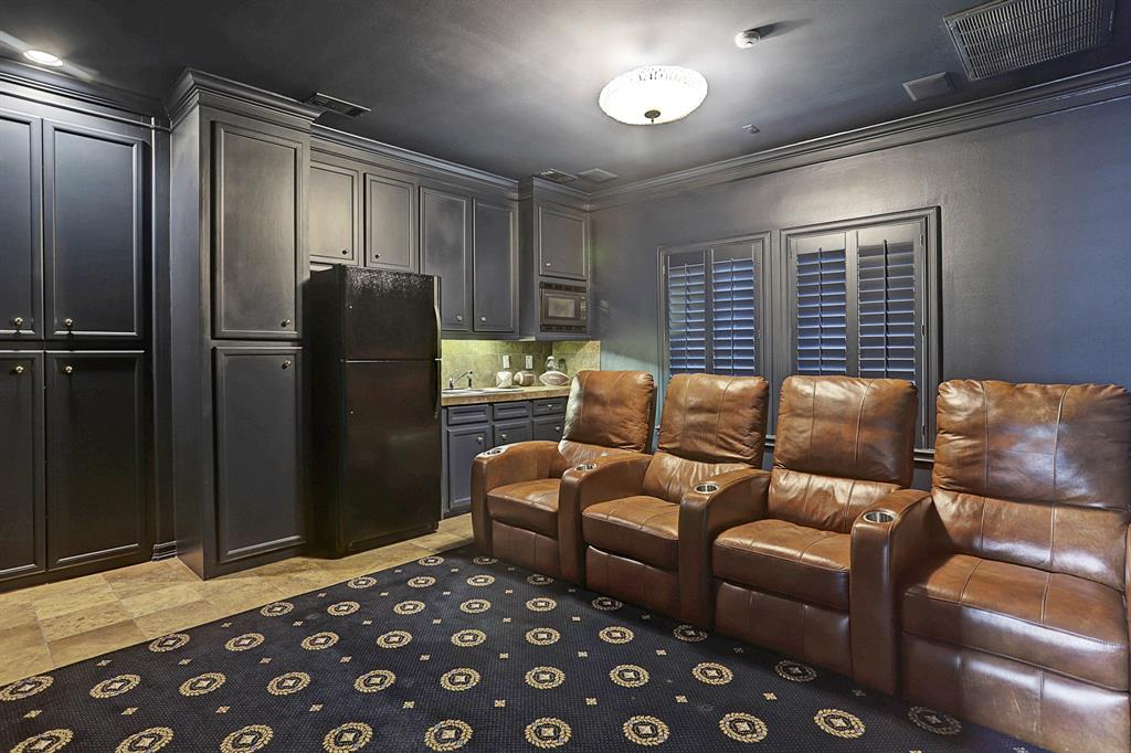 The MEDIA ROOM (15 X 16) includes tile flooring and carpeted area rug, shuttered windows, built-in storage cabinets, wet bar with sink/microwave/full size refrigerator.  Walls and ceiling are painted to provide minimum light reflection for viewing movies!