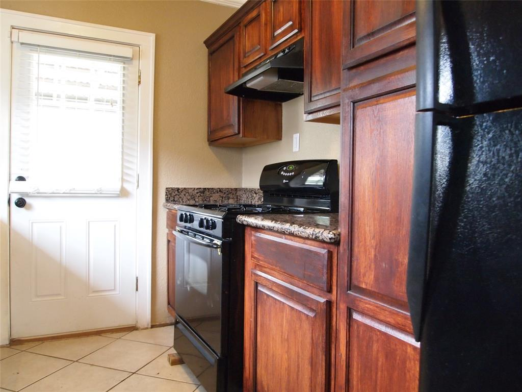 Kitchen also features a gas range with refrigerator included.
