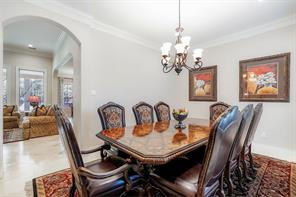 The dining room has easy access to the family room and kitchen but still has complete privacy.