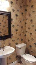 Powder room. Love that tropical paper!