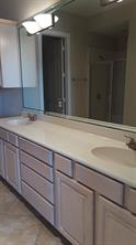 Double vanities in the master bath. Lots of cabinets, too.