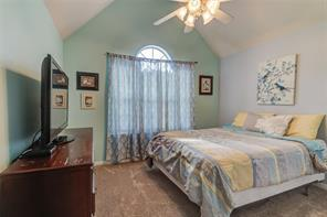 3RD BEDROOM WITH VAULTED CEILING AND ARCH WINDOW.