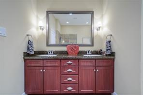 Dual sinks in master bathroom.