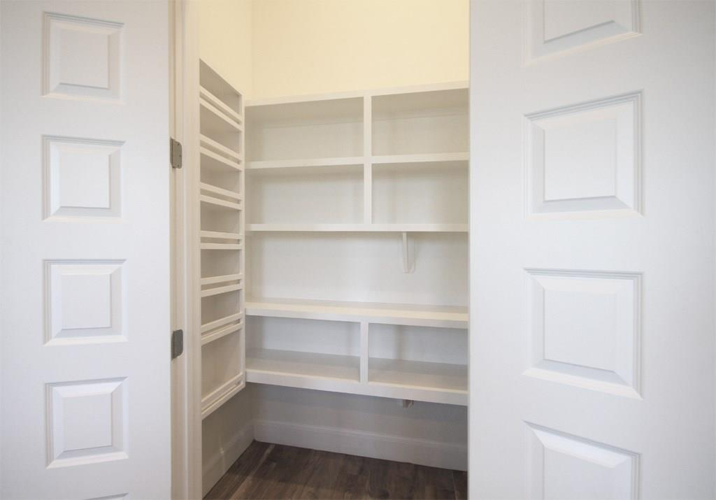 Large pantry with storage space in kitchen