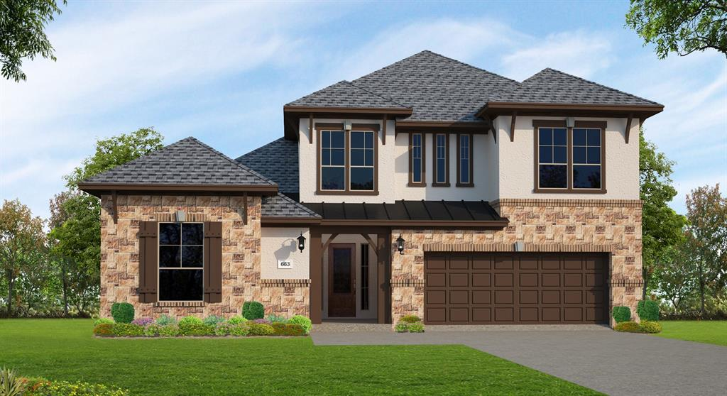 Beautiful New Trendmaker Home has a beautiful stone and stucco exterior and is located on an oversized homesite! Once inside, be greeted by a large Foyer that leads into the main living area. The fireplace makes a great focal point and perfect to cozy up next to in the family room. After a long day, relax on the extended covered patio.The gourmet kitchen has stainless steel appliances, double ovens, granite counter tops, a custom backsplash, a pot filler, a large pantry, and LED under cabinet lighting. The master suite has a large walk in closet and garden tub. Entertain in the upstairs game room and media room. Complete with a 3-car tandem garage, this home has great features!