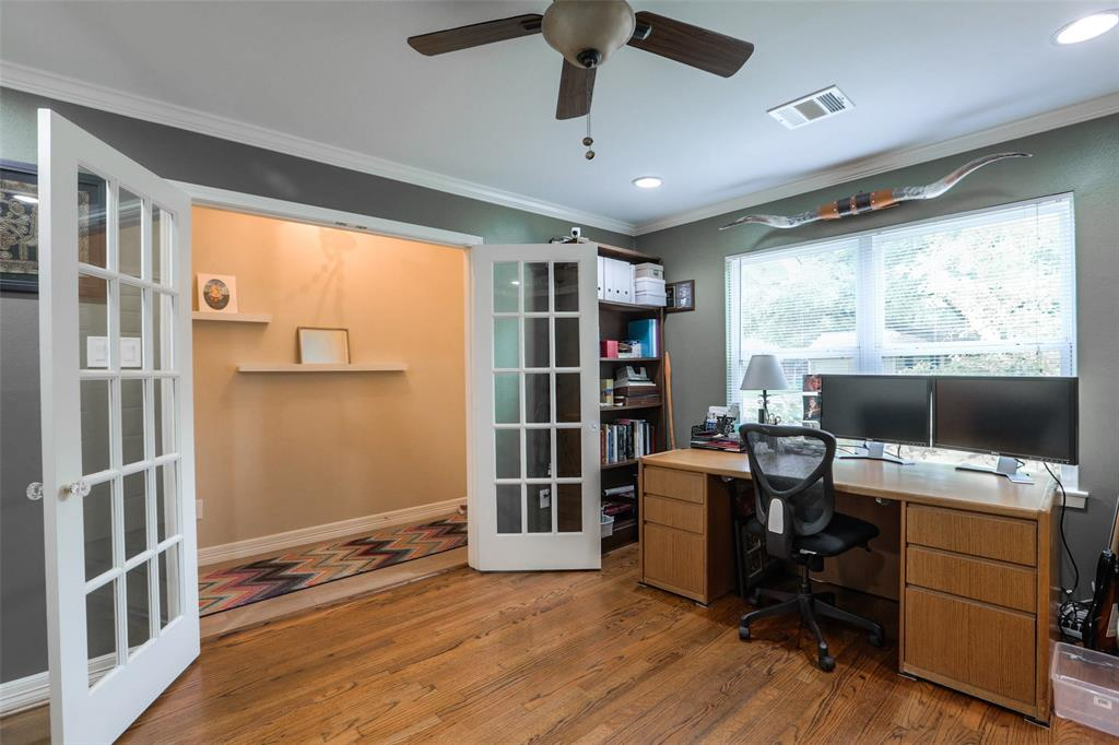 The private study offers tons of natural light and french doors. That's 4 bedrooms plus a study. However, the study does have a closet and could serve as a 5th bedroom.