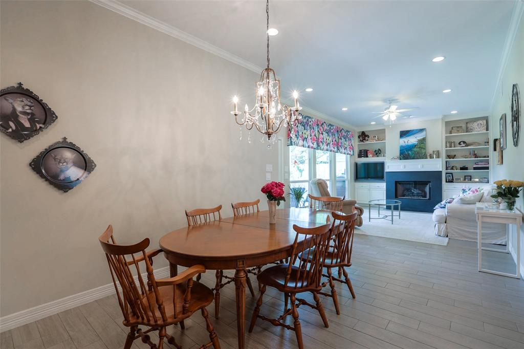The open dining space opens into the living room.