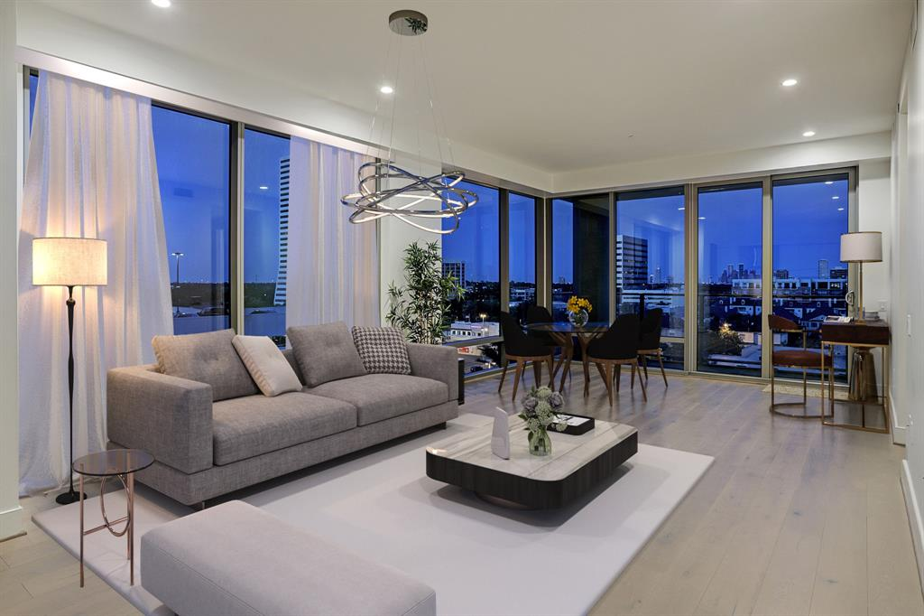 A RARE-FIND inside the loop and in The Wilshire.  Kirksey's classic design offers you luxurious finishes in thoughtfully laid out spaces with energy efficiency in mind.  Suite 805 is the ONLY 2 bed / 2.5 bath, TURN-KEY, never-lived in home available for sale with views of the Houston skyline.  Overlooking the amenity deck offers tranquil sounds and unobstructed views giving the home an airy feel.  Walk to the River Oaks District and within minutes to Memorial, Midtown, and the Medical Center.  Competitive owner fees include some utilities and world-class management staff.  There is so much to appreciate here so schedule your showing and share with a friend!