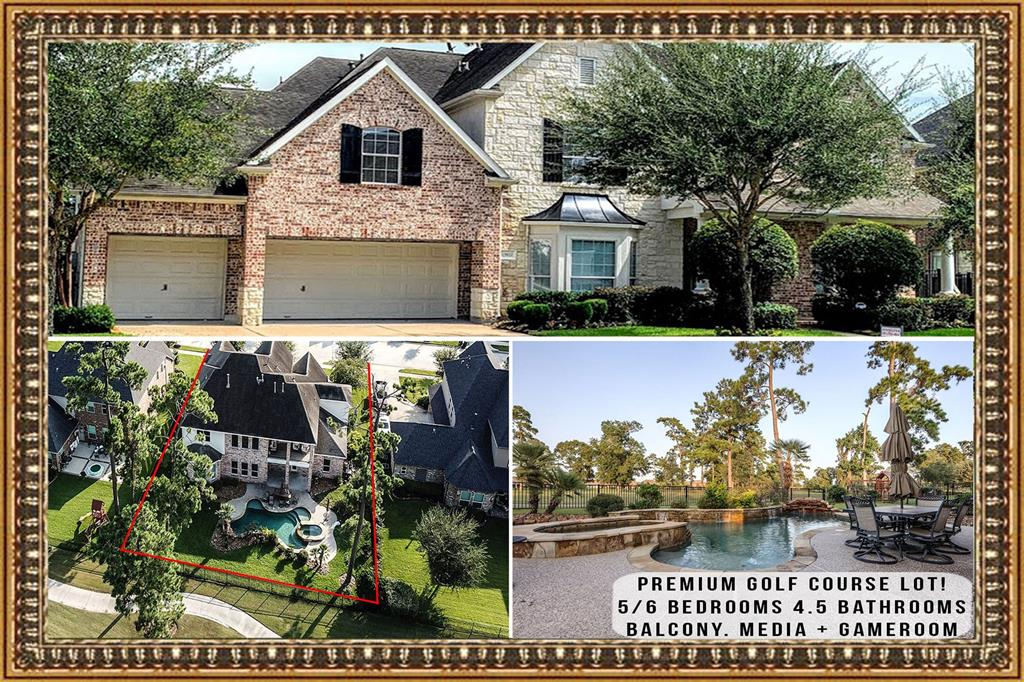UNBEATABLE LOCATION with views of golf course on cul-de-sac street. Pool. Spa. Cozy front porch, covered patio + balcony. GORGEOUS open floorplan Frederick Harris semi-custom home with soaring ceilings. Hardwood & tile floors in all living areas. Dual staircases. Gourmet island kitchen with upgraded cabinets, granite countertops, stainless steel appliances with double ovens.Two pantries. Formal dining & study with French doors. Elegant Master suite downstairs with his & hers closets. 2nd bedroom with full bath down. UPSTAIRS: 3 spacious secondary bedrooms with large closets, Media + game room, large bonus room. If golf is your passion look no further.