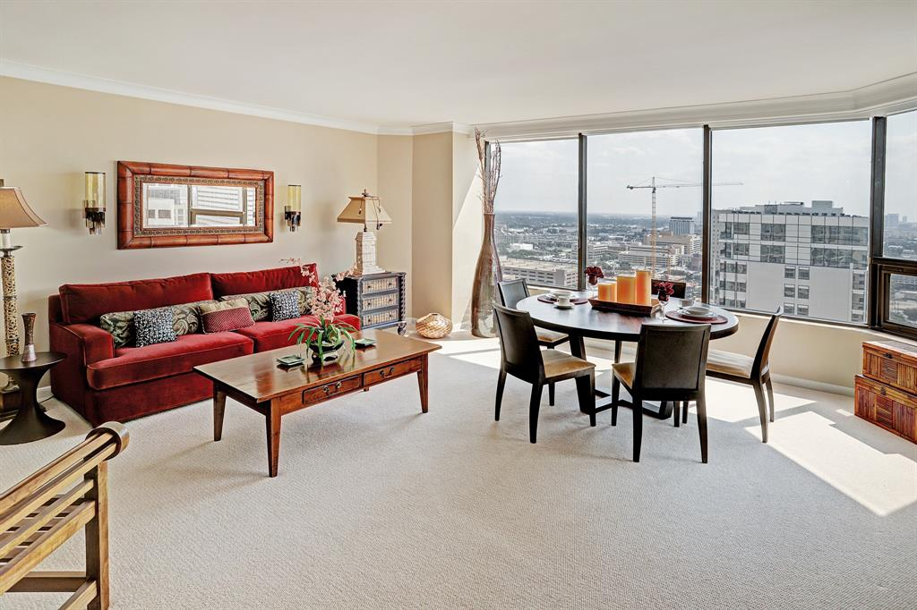 Image of living room are of a condo at Four Seasons Residences, Houston, Texas