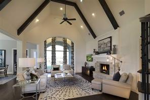 Vaulted Family Room with Beams