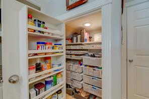 Very Organized Pantry with lots of pull out drawers that expand the pantry