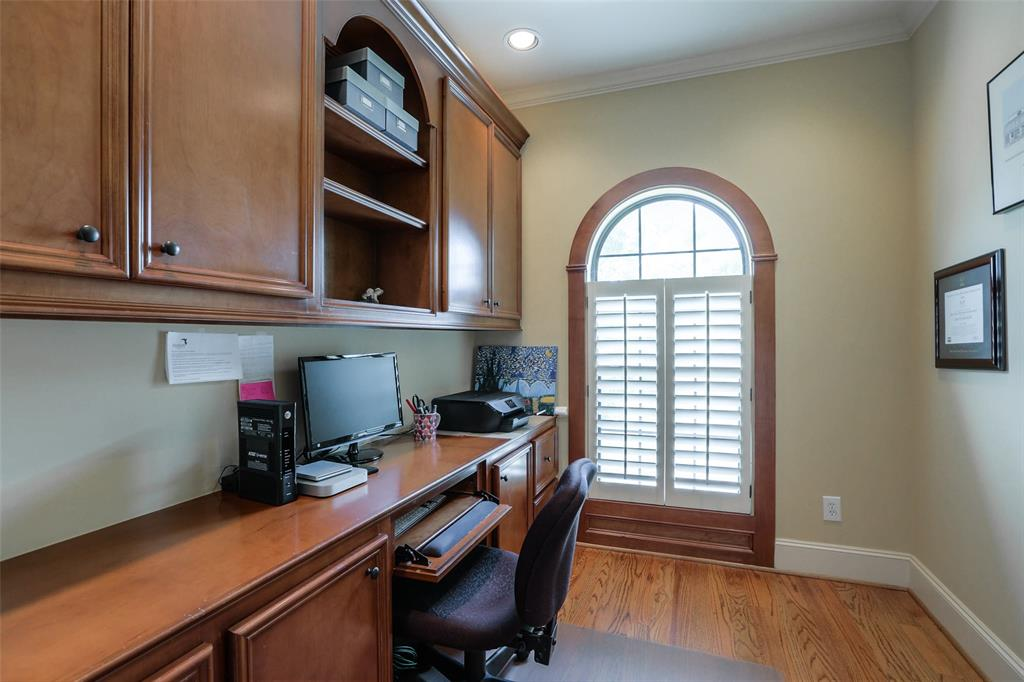 Study on the second floor offers a private space with great storage.