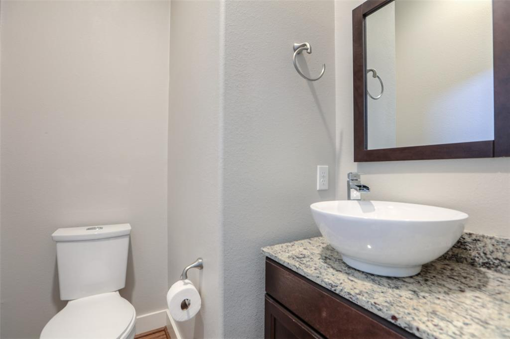 Half bath on the second floor is perfect for guests