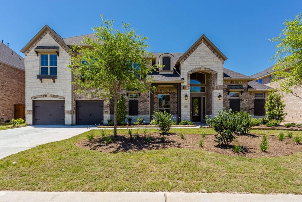 New Trendmaker home with a brick and stone exterior. The WOW foyer welcomes you! Wood floors in select areas offer warmth and luxury. Enjoy cooking in the kitchen with stainless steel appliances, double ovens, silestone counter tops, a custom backsplash and a large island. Find entertaining easy with the open plan concept of the dining, family and kitchen. The Master suite has his and her closets plus double shower heads. The 2nd bedroom down is ideal for you guests.  Upstairs, have fun in he large entertainment room. Complete with a 3- car tandem garage and formal study, this home has so much room!