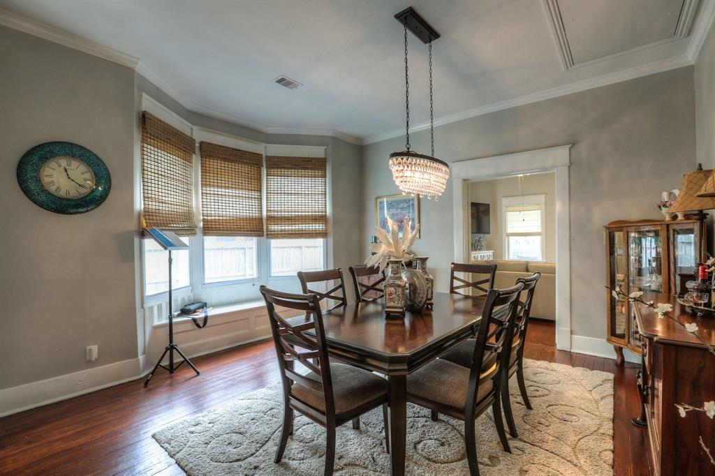 Large formal dining provides a great space for Thanksgiving dinner. Also, check out some other great touches, like high ceilings and the crown molding (which you'll find throughout the home including the closets and bathrooms).