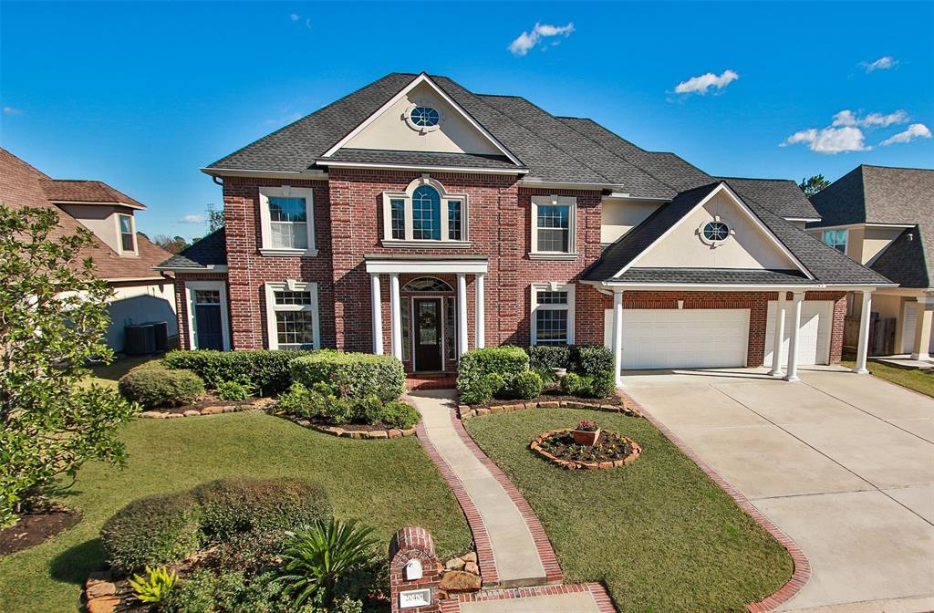 """Spectacular custom home situated on a premium golf course lot in the desirable """"Links"""" section of Windrose! Featuring 4/5-bdrms, 4.2 baths w/oversized 3-car garage. Gorgeous open floorplan w/2-story foyer, winding staircase, handsome study, formal dining & living RM. Gourmet island kitchen w/butler's pantry, breakfast bar, SS appls, gas cooktop, dbl ovens, granite counters, blt-in refrigerator and walk-in pantry! Den w/custom built-in, gas log fplc & wall of windows overlooking the golf course. Master suite w/tray ceiling and bay window with stunning views. Master spa w/dual vanities and closets, separate shower & Jacuzzi tub.  Game RM, computer nook, rear balcony, 3-bdrms + extra RM up! Fabulous backyard w/lovely landscape and extended covered patio. Convenient to Grand Parkway, I-45, shopping & dining. Roof 2015, Two Trane HVAC systems 2016, recent paint. Acclaimed Klein ISD!"""