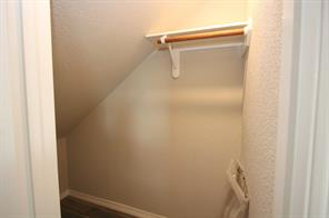 Storage space located  beneath the staircase.
