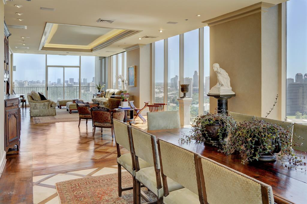 Outstanding & luxurious, this penthouse on the 26th floor of the Houstonian Estates encompasses all that is comfort & beauty. With unparalleled 360 degree views of Houston, this full service building is the perfect & most leisurely place to call home. Direct elevator access into the unit, elegantly brings you to the foot of your foyer & welcomes you into the sumptuous penthouse. Custom designed layout w/ formals, gourmet kitchen, media room, wet bar, study & office. Dual master bedrooms w/ exceptional closets, balconies & spa like baths encased in marble.  Views over Memorial park, Downtown & Galleria from almost every room, make day to day living incredibly scenic. Also, featuring finishes nothing less than excellent such as Venetian plaster, tray ceilings w/ cove lighting, designer wallpaper, mahogany wall paneling, marble, hardwoods & travertine floors. Endless building amenities include 24hr concierge & valet, swimming pool, rooftop tennis court, track, dog park & so much more!
