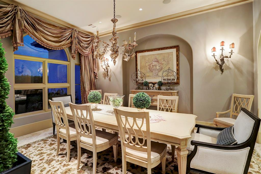 FORMAL DINING 17 X 15 With 11 Ceilings A 6 Candle Designer Chandelier Dual 3 Wall Sconces Buffet Niche Recessed Lighting And The Large 4