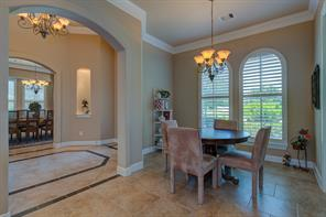 Breakfast area with plantation shutters.