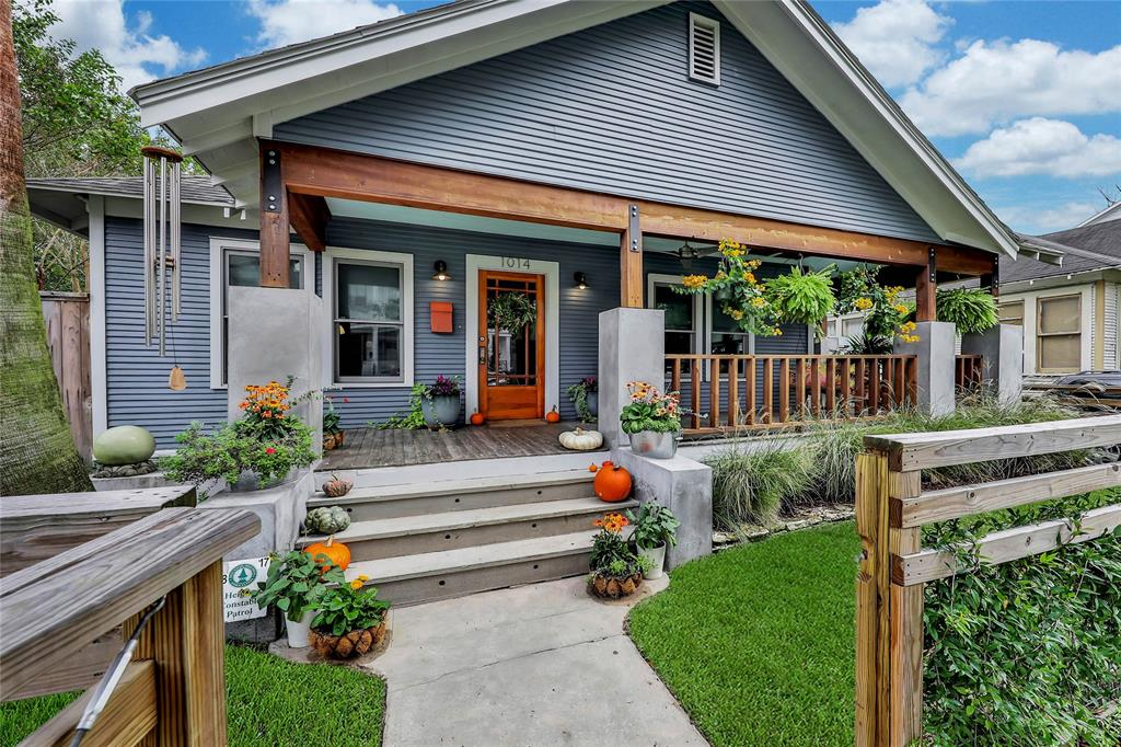 This classic 1929 Heights bungalow has been completely transformed, inside and out, including a 2-car garage & incredible ~650 SF garage apt. built new in 2015 using SIPs technology for superior insulation. Updated with a focus on energy efficiency, the home now has an 8.25 kW solar PV array system, Jeld-Wen high-efficiency windows, top-of-the-line AC system (June 2018), and added insulation, all resulting in $0 of electricity costs over the past year! Other important updates include new kitchen & appliances, new baths, Houston-specific whole house water filtration system, rainwater catchment system, and irrigation system. The beautiful contemporary farmhouse style interior leads out to a sizable deck and large backyard greenspace with edible landscape (citrus, banana, avocado & more). Zoned to Harvard, this home is also within a few blocks of Eight Row Flint, Lola, EQ, Calle Onze, Heights jogging trail, and the coming Heights Central Station.  A must see!  Not in historic district