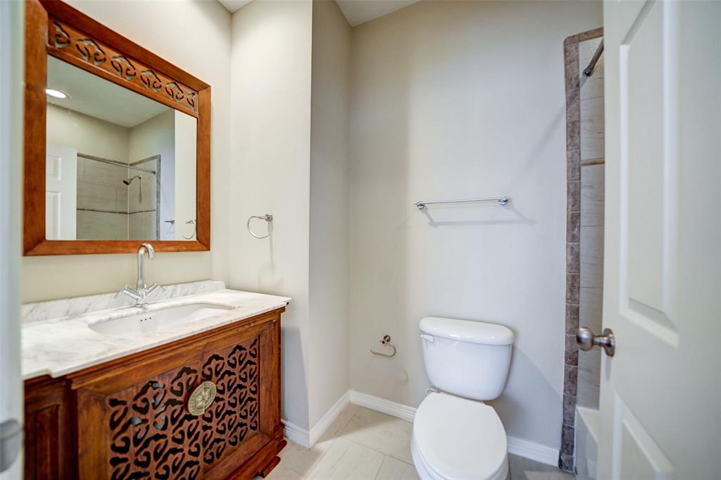 Every bedroom has its own en suite.  Check out the beautiful vanity.