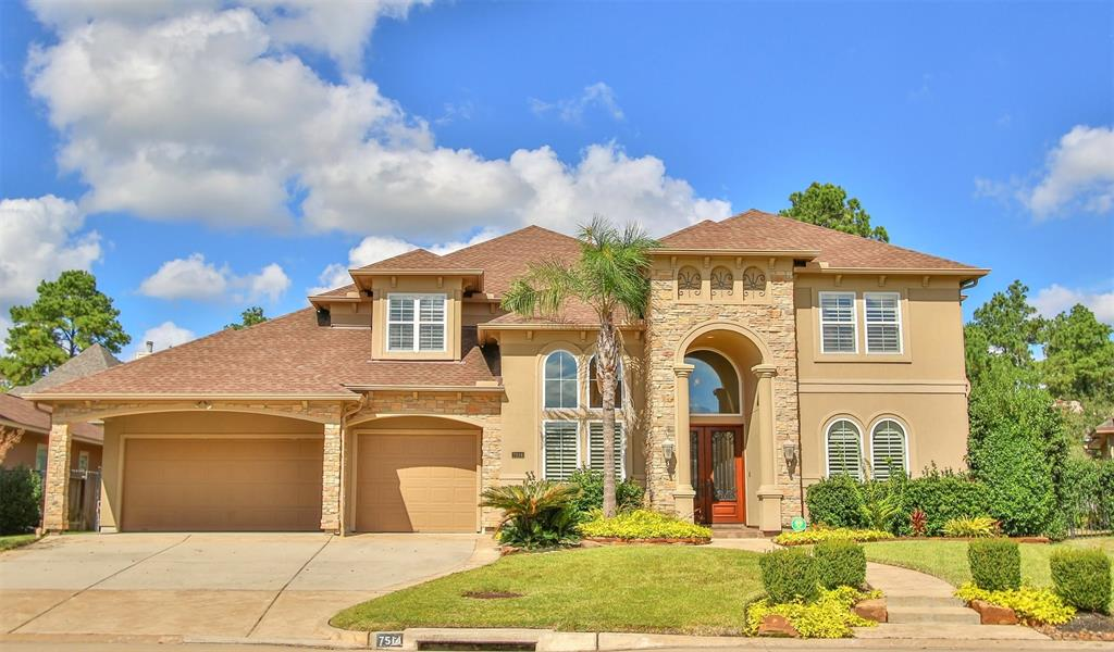 Beautiful home,gated community of Champions Woods Estates, zoned to Klein ISD. Home offers dramatic ceilings, archways, custom millwork & moldings. Study w/mahogany shelves& cabinets, arched windows, crown molding & French drs. Gourmet kitchen w/granite counter-tops, ss appl,custom cabinets, gas range, double ovens, prep-sink, abundance of counter space & storage. Breakfast rm w/large seamless windows, over-looking back patio & fireplace. Family room; tall ceiling, firepl, built-in mahogany cab & wall of windows over-looking pool & waterfall. Gorgeous master-suite, hardwd flrs, double trey ceiling w/crown molding & sitting area. Master bathroom, huge walk-in shower, granite counter tops, crown molding. Downstairs 2nd bedrm, personal bathroom. Upstairs is game rm, two living area, flex rm ideal use as a media rm, TX basement, 3 bedrms, w/walk-in closets & own bathrm. Full generator & Mosquitonix misting sys, pool net.  Backyd,pool& waterfall, extd cov'd patio, outdr kitchen & fireplace.