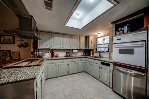 New granite counters, plenty of cabinets, new hood above peninsula.