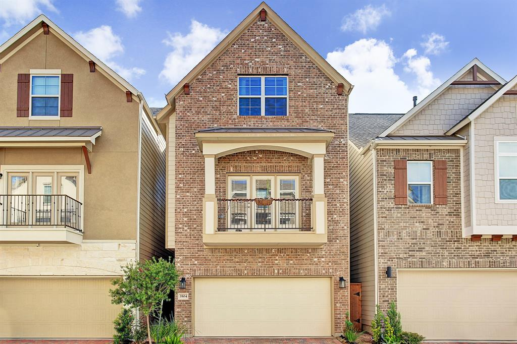 One of a kind, FIRST FLOOR living with master on the 2nd Floor. Recent new construction in gated community.  Living room boasts fireplace, hardwood floors, and dramatic 20 foot ceilings.  Island kitchen with white shaker cabinets, granite and stainless appliances.  Spacious master suite has balcony and huge walk-in closet.  Luxurious master bath has separate vanities, frameless glass shower and soaking tub.  Zoned to highly sought-after Garden Oaks Elementary. Minutes to White Oak Bayou Trail & TC Jester Dog Park.