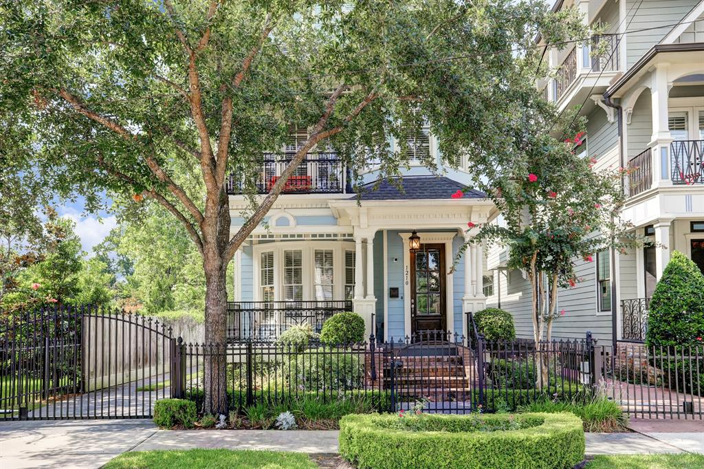 Stunning custom Victorian style home with many upgrades!High ceilings,hardwood floors, bright and tons of natural light FIRST FLR living w large windows. Flexible 3rd floor can be used as a 4th bedroom/game or media room.3 balconies and covered backyard patio with built-in bar.Spacious multi use study area on 2nd floor landing.Chefs kitchen with huge island and an abundance of custom built-ins and glass front cabinetry, high-end appliances, gas range and breakfast area, dry bar with bev chiller.Spacious and bright master suite including a spectacular bath with marble, double sinks, whirlpool tub and separate shower.Walk-in closet with custom built-ins.Home has unfinished quarters above garage.Driveway surrounded by custom landscaping.East balcony overlooks Green-space.Close to all the trendy restaurants, coffee shops, bars, 365 Whole Foods and farmers market. Easy access to 610/I-10. High-end HEB coming soon. OFFERED FOR SALE AT $799,000