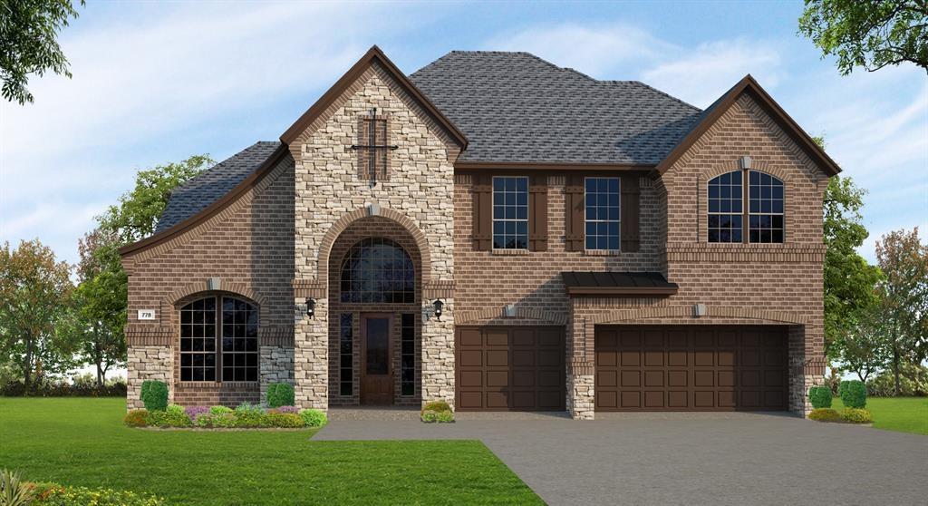 Gorgeous, New Trendmaker home with a stone and brick exterior, showing great curb appeal. The open floor plan has both function and style.  This home has 4 bedrooms with 2 downstairs, 3.5 baths, and a 3-car garage. The living spaces in the family room and kitchen are perfect for gatherings with the open concept design. The gourmet kitchen features stainless steel appliances included double ovens, and a spacious pantry. Cozy up by the fireplace or relax on the covered back patio. Retreat into the master suite and the spacious luxurious bath including dual sinks, double shower heads, and a large walk-in closest. Entertain upstairs in the game room and media room. Complete with walk-in closets in most the secondary bedrooms, you don't want to miss out on this home!