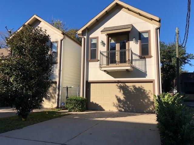 "JUST LISTED in the heart of Rice Military & the Washington St. Corridor. Walk or bike to restaurants, shopping, West End Park and entertainment! Open, spacious and super clean 3/2.5/2 versatile floor plan available for immediate move in. This stunning two story home is loaded with desirable features throughout including: granite counters, stainless steel appliances, hardwood floors, ceramic tile, 42"" kitchen cabinets, breakfast bar, double pane windows, radiant barrier attic, recessed lighting, sprinkler system and so much more. Master suite has hardwood floors, outdoor balcony, walk-in shower, garden tub, double vanities, TWO walk-in closets and a separate water closet! Wonderful fully fenced back yard with patio is ideal for grilling, hanging out or playing with the kids! Pet friendly synthetic turf was just installed in the backyard too. Stainless steel refrigerator and full size washer and dryer are included with the lease. DID NOT FLOOD during Harvey!!"