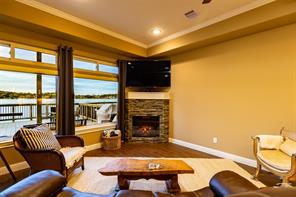 Cozy Fireplace with views of Lake Conroe