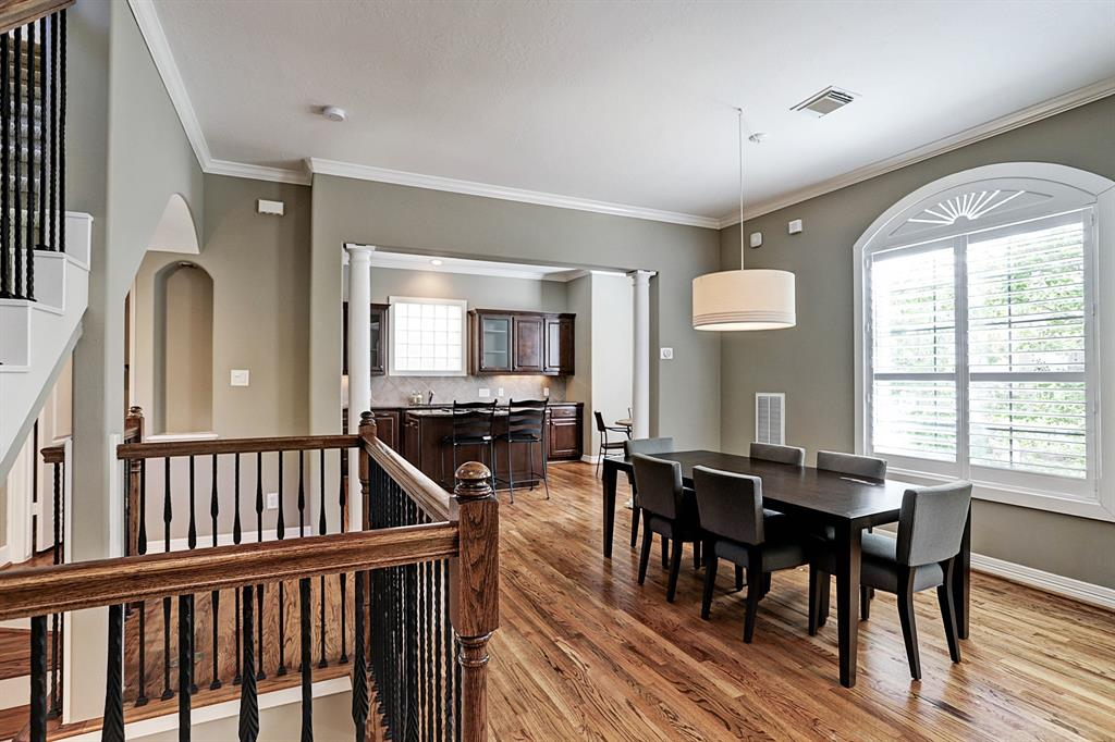 Beautiful hardwood floors throughout the second floor.  Plantation shutters on the second and third floors.