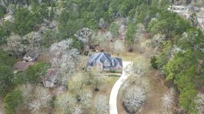 An aerial view shows the property with trees and shrubs all around.