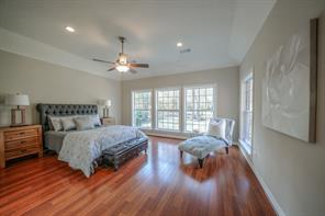 Spacious master has a beautiful view of the back yard, recessed lighting and space for extra furniture.