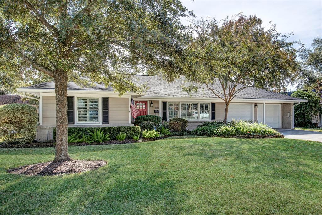 This charming, updated* 1-story home tucked away on a quiet street in Timber Creek sits on a 13,480 sf lot (per HCAD) & features an open concept floorplan w/ heated pool & spa.  The kitchen is tastefully remodeled* w/ granite counters, built-in refrig. & wine cooler, breakfast area w/ banquette seating + brkfst bar seating & tons of counter space.  Light-filled family rm w/ fireplace flanked by floor to ceiling paned windows & French doors leading to the study (converted from formal dining rm). Gracious living room is perfect for casual entertaining or watching Netflix!  Master Retreat boasts recent* wood flooring, a beautiful master bath, & access to the backyard retreat.  Two wonderful secondary bedrooms w/abundance of built-in shelf space & custom built-in desks.  HUGE backyard oasis showcases a covered patio w/ beadboard ceiling, a STUNNING heated saltwater pool w/ stone waterfall, expansive greenspace, + a large raised deck ideal for entertaining! A fine home!  *Per seller