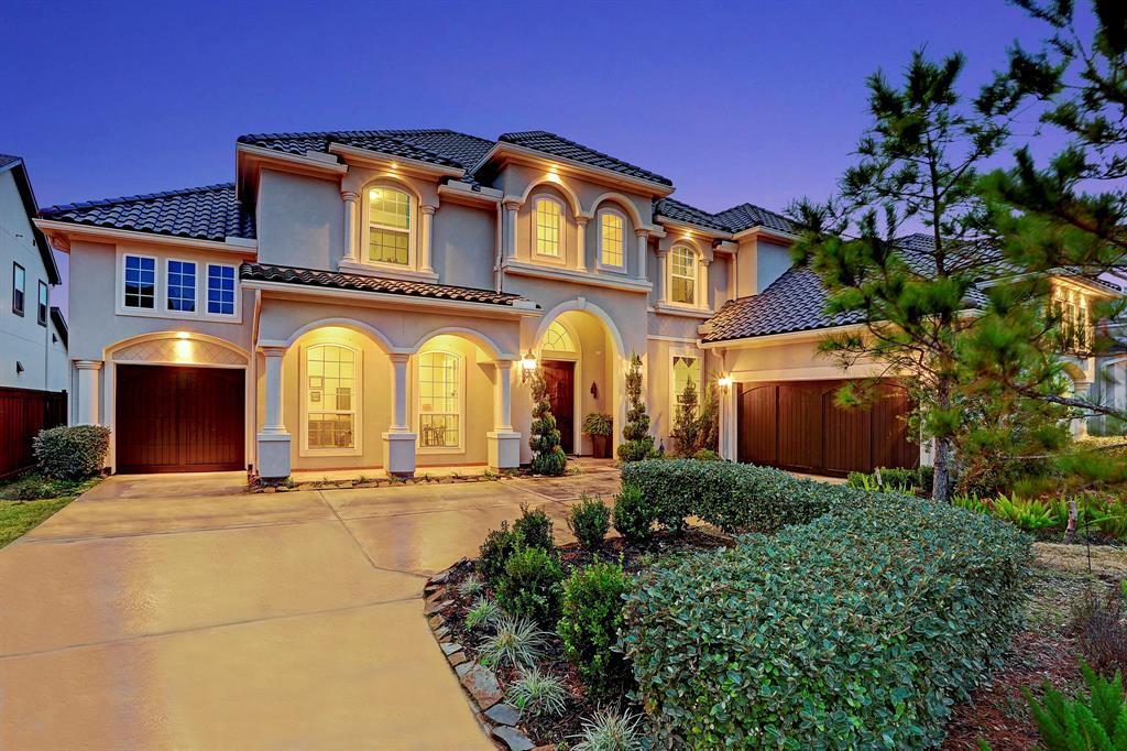 """Majestic"" aptly describes this Toll Brothers Estate Collection Vallagio home. Attention to high end detail is standard, but this home goes beyond that w/upgrades throughout, like a tile roof, wood carriage-style garage doors and knotty alder double front doors w/speakeasy windows. Once inside you'll be delighted by the grand 2-story foyer w/sweeping semi-circular staircase, as well as a study to the left and sizable formal dining room w/wine grotto to the right. The home then flows effortlessly into the great room, w/2-story windows overlooking the private backyard and a stunning kitchen w/center island bkfst bar, upgraded appliances (Sub-Zero fridge), back-lit transom upper cabinetry, and 6-burner gas range w/upgraded vent hood. There's room for everyone in this coveted Vallagio model: 2 bedroom suites on 1st floor (master and guest), and 3 bedrooms on 2nd floor w/game and media rooms. All this plus exemplary schools, 5-star amenities and a short 35 minute drive to downtown!"