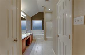 Spa like feeling in your master bath.  Separate shower, his and her sinks, lots of storage.