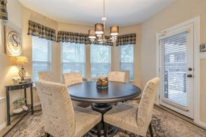 Breakfast room features a bay window and easy access to the backyard.