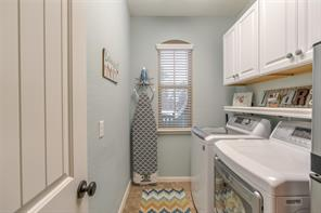 Utility room features plenty of storage and a window for natural lighting. Also featured in this home is a water softener that will make cleaning your clothes a breeze!