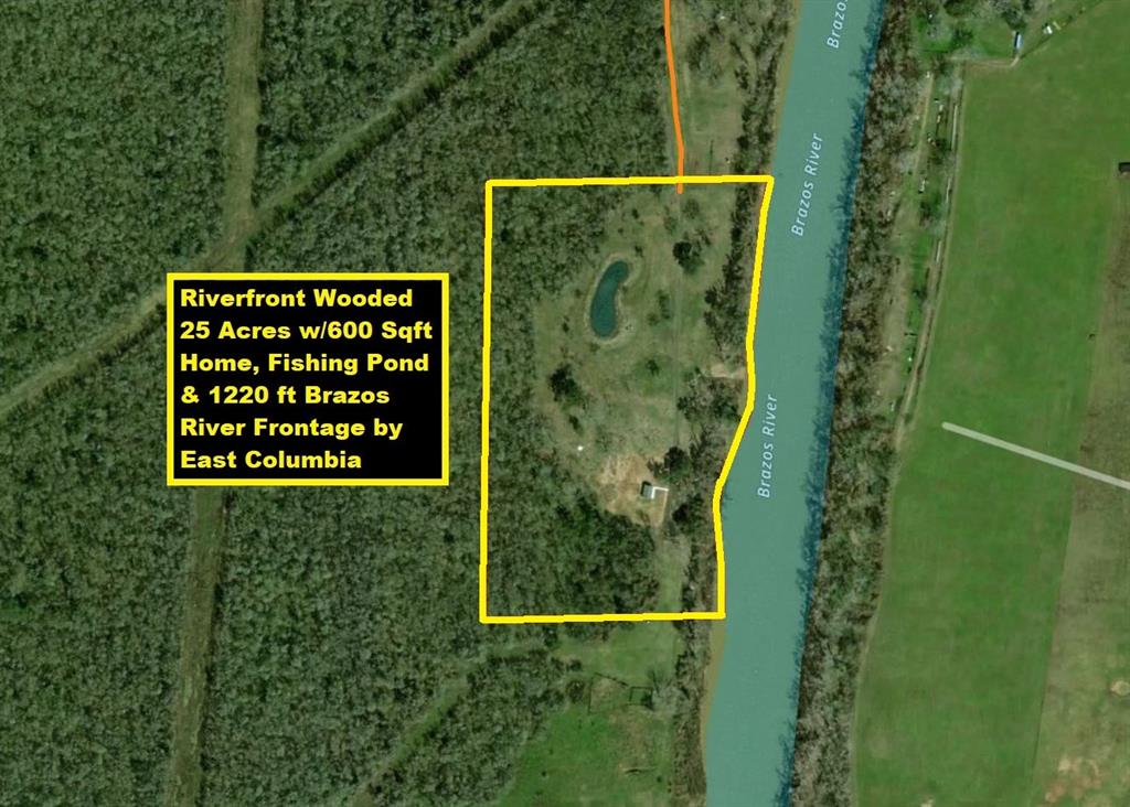 Per Seller Home Did NOT Flood when The Brazos River Flooded! Ag Exempt! Secluded Riverfront Wooded 25 Acres with 600 Sqft Home, Fishing Pond & ~1220 feet Brazos River Frontage by TX-35. Home on 6-inch Thick Slab w/Bell Bottom Piers, Stained Concrete Floors, 1 Bedroom, 1 Full Bathroom w/Washer & Dryer,  Living/Dining Area/Kitchen w/Fridge! Graveless Septic. Pond & Trough have 120 ft Deep Well w/Solar-Powered Pump. Home has 160 ft Deep Well w/Pitcher Pump. Concrete Pad w/Judge Feeder. Easy Access to River for Boat Launch/Fishing. Catch Perch from Stocked Pond; Catfish from River. Property is Surrounded by 100s of Federal Wildlife Acreage w/Abundant Wildlife & No Neighbors. Excellent Recreational Property for Hunting/Fishing/Boating/Riding 4-Wheelers. Property is 2 miles S of East Columbia TX-35; 3 Miles SW of West Columbia TX-36; 11 Miles W of Angleton TX-288; 30 Miles to Freeport Plants, Gulf Beaches, I-69/US-59, TX-6. Can Be Commercial, Residential, RV Resort or Hunting/Fishing Lodge.