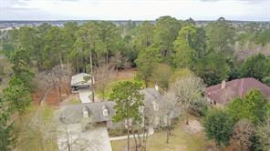 Arial view shows the wooded lot.